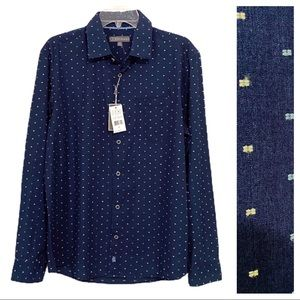 NWT Ike by Ike Behar Navy Button Up Embroidered M